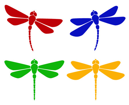 Vector illustration. Silhouette of dragonfly Illustration