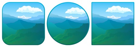 산맥: Vector illustration. Computer icon with a view of the mountain range