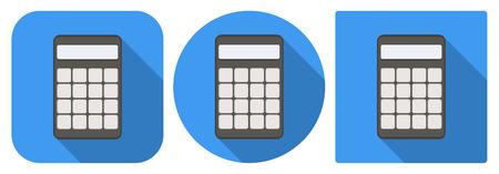 icone tonde: Icone quadrate e rotonde di calcolatrice in design piatto Vettoriali