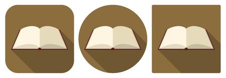 icone tonde: Illustrazione vettoriale. Icone quadrate e rotonde di libro dell'enciclopedia in design piatto