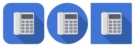 icone tonde: Illustrazione vettoriale. Icone quadrate e rotonde di telefono fisso in design piatto