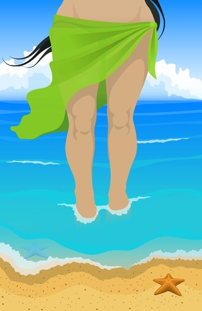 teenage girl bikini: Vector illustration. Slim tanned women in green pareo comes out of the ocean to the beach Illustration