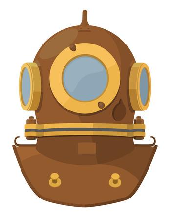 oceanography: Vector illustration. Cartoon heavy diving helmet
