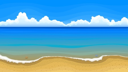 tropical beach panoramic: Vector illustration. Sandy beach with azure sea water and white clouds on horizon