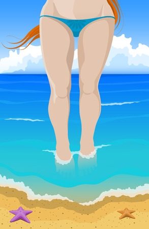 teenage girl bikini: Vector illustration. Slim red-haired girl in a bikini comes out of the ocean to the beach