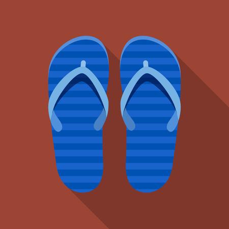 flipflop: Vector illustration. Icon square shape of striped flip-flop in flat design Illustration