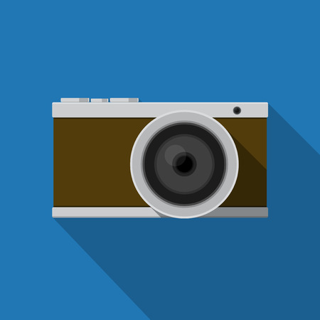 camera: Vector illustration. Icon square shape of digital camera in flat design