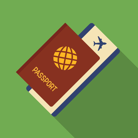 international monitoring: Vector illustration. Icon square shape of passport with airplane ticket in flat design Illustration