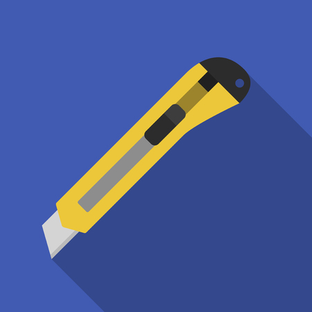 boxcutter: Vector illustration. Icon square shape of stationery knife in flat design