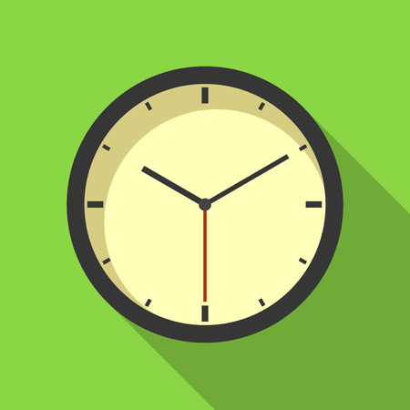 analog clock: Vector illustration. Icon square shape of analog clock in flat design