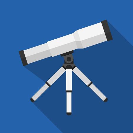 computer scientist: Vector illustration. Icon square shape of telescope in flat design