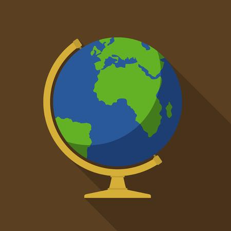 computer scientist: Vector illustration. Icon square shape of school globe in flat design