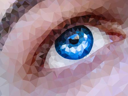 blue eyes: Vector illustration. Close up of polygonal blue eyes Illustration