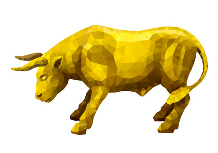 enemy: Vector illustration. Abstract animal in the polygon style. Golden bull standing in a combat stance taking aim at the enemy horns Illustration
