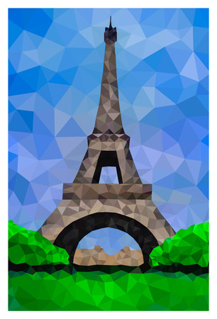 champ: Vector illustration. Abstract landscape in the polygon style. View from Champ de Mars at the Eiffel Tower Illustration