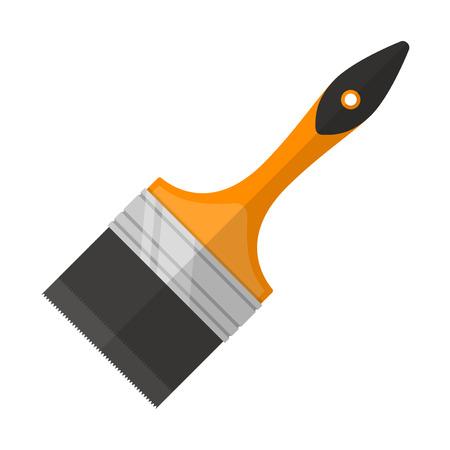 house painter: illustration. Paint brush in flat design isolated on white background