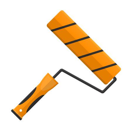 roller brush: illustration. Roller brush in flat design isolated on white background Illustration
