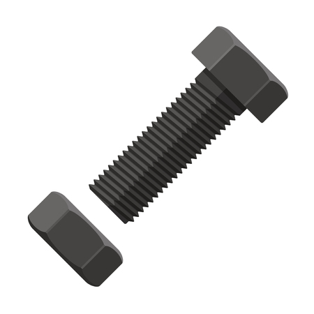 fastening: illustration. Bolt with fastening nut in flat design isolated on white background