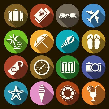 Ilustración del vector. Conjunto de iconos planos en materia de turismo y los viajes en el diseño plano con efecto de sombra. Para información gráfica, banners web, material promocional, plantillas de presentación