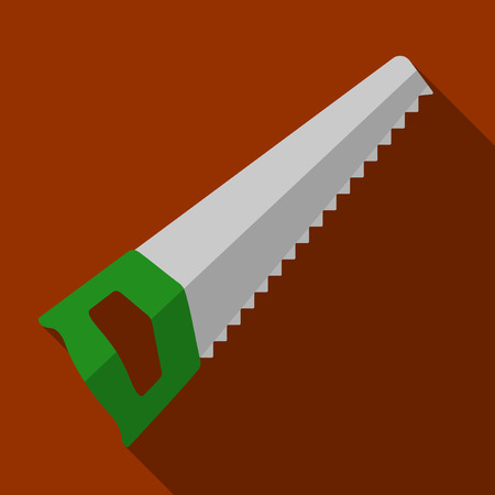 felling: Vector illustration. Icon of toy hand saw in flat design with shadow effect