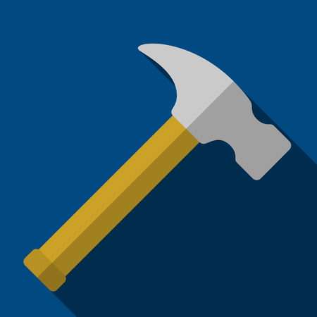 computer repairing: Vector illustration. Icon of toy hammer in flat design with shadow