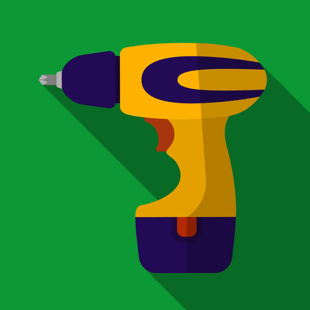 machinist: Vector illustration. Icon of toy electric screwdriver in flat design