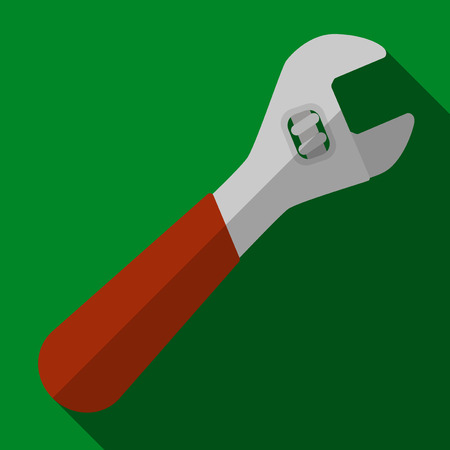 Vector illustration. Icon of toy adjustable wrench in flat design with shadow effect Illustration