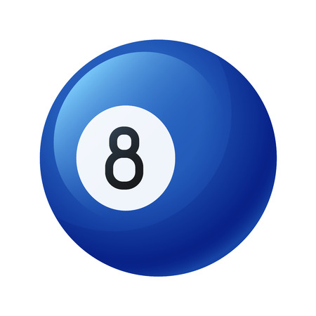 number eight: illustration. Blue billiard ball number eight isolated on a white background Illustration
