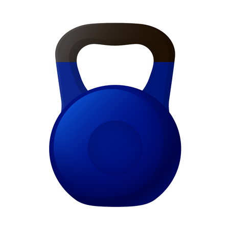 physically: Vector illustration. Blue kettlebell with a matt black handle isolated on a white background