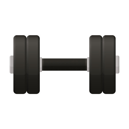 physically: Vector illustration. Dumbbell with a matt black handle isolated on a white background