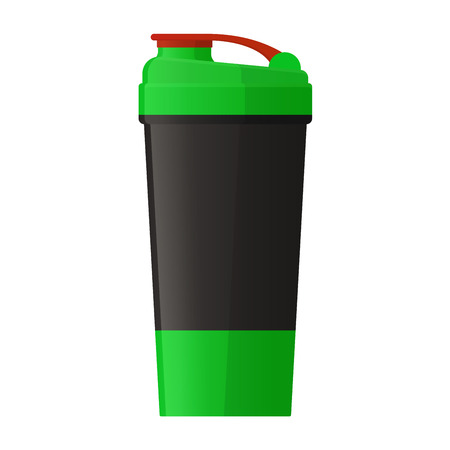 plastic bottles: Vector illustration. Sports shaker for protein powder and gainer isolated on a white background. Healthy nutrition and fitness Illustration