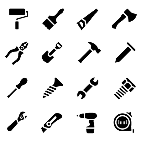 hand silhouette: Vector illustration. Icon set of black simple silhouette of work tools in flat design. For info graphic, web banners, promotional materials, presentation templates and your interface Illustration