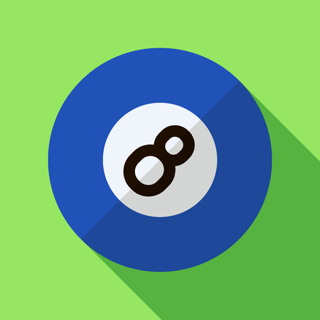 billiard ball: Vector illustration. Icon of toy blue billiard ball in flat design with shadow effect
