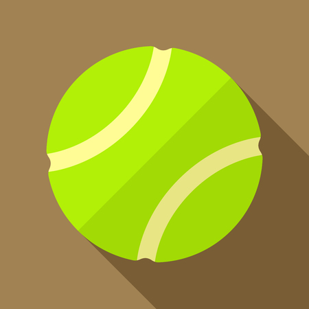 activity exercising: Vector illustration. Icon of toy yellow tennis ball in flat design with shadow effect Illustration
