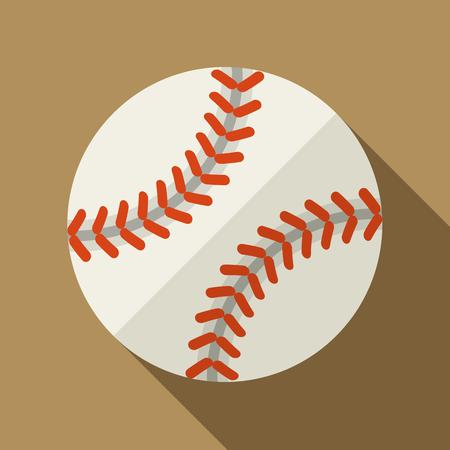 ベクトルの図。影付きフラットなデザインでグッズ革野球ボールのアイコン