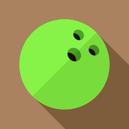 competitive sport: Vector illustration. Icon of toy green bowling ball in flat design with shadow effect