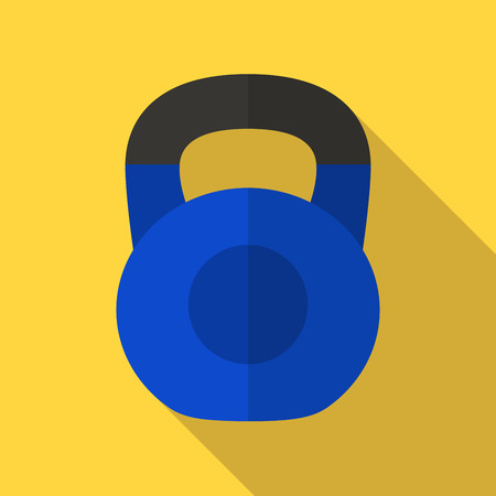 physically: Vector illustration. Icon of toy blue kettlebell with a matt black handle in flat design with shadow effect