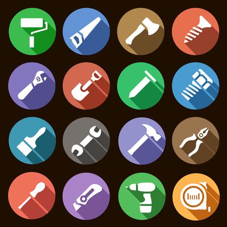 herramientas de trabajo: Ilustración del vector. Conjunto de iconos simples planas redondas herramientas de trabajo con efecto de sombra