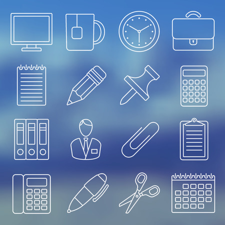 office supplies: Vector illustration. Line icon set. Office supplies and office life in simple design.