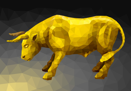 enemy: Vector illustration. Abstract animal in the polygon style. Golden bull standing in a combat stance taking aim at the enemy horns in the dark