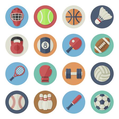 sport equipment: Vector illustration. Flat icon set. Sport equipment in simple design. Icon size 256