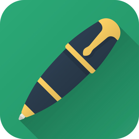 illustration. Square shape icon in flat design. Toy ball pen in simple design with long shadow. Illustration