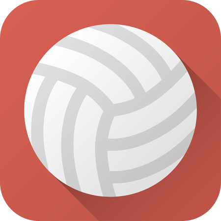 illustration. Toy leather volleyball ball in flat design with long shadow. Square shape icon in simple design.