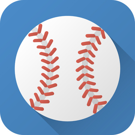 イラスト。長い影とフラットなデザインでグッズ革野球ボール。シンプルなデザインの正方形のアイコン。