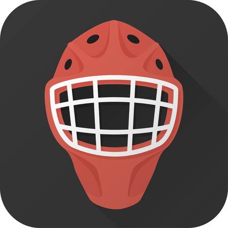 goalie: illustration. Toy hockey goalie helmet in flat design with long shadow. Square shape icon in simple design.