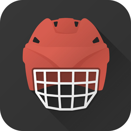 offensive: illustration. Toy hockey helmet offensive player in flat design with long shadow. Square shape icon in simple design.