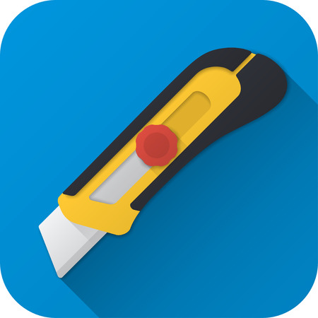 Vector illustration. Toy construction utility knife in flat design with long shadow. Square shape icon in simple design.