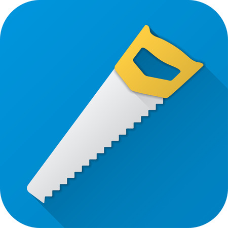 Vector illustration. Toy saw in flat design with long shadow. Square shape icon in simple design.