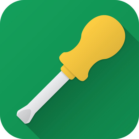 Vector illustration. Toy screwdriver in flat design with long shadow. Square shape icon in simple design.