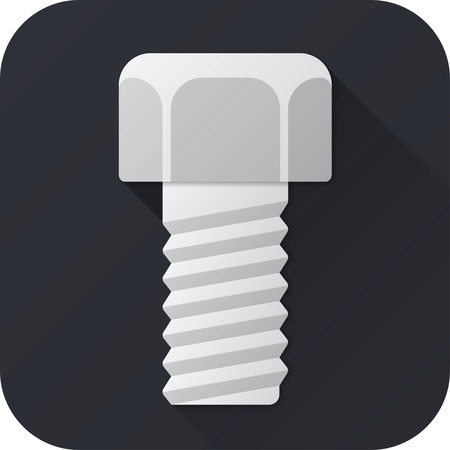 metalware: Vector illustration. Toy bolt in flat design with long shadow. Square shape icon in simple design. Illustration